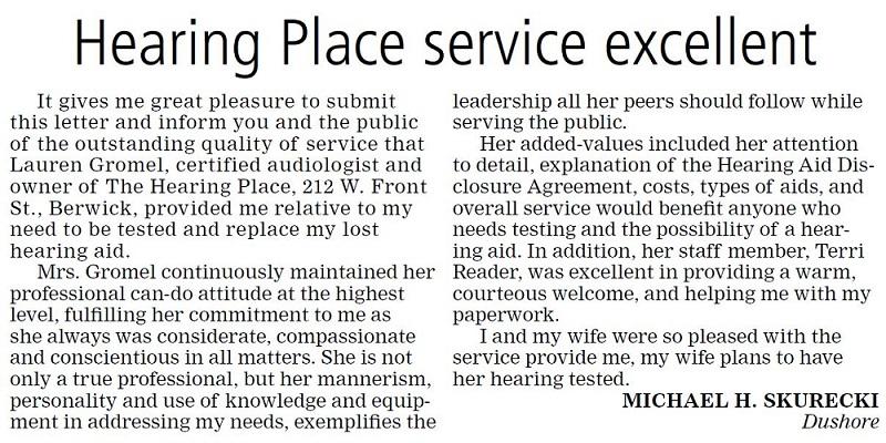 Hearing Place Service Excellent, Article by Michael H. Skurecki, The Press Enterprise